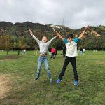 Jumping in front of the Hollywood sign