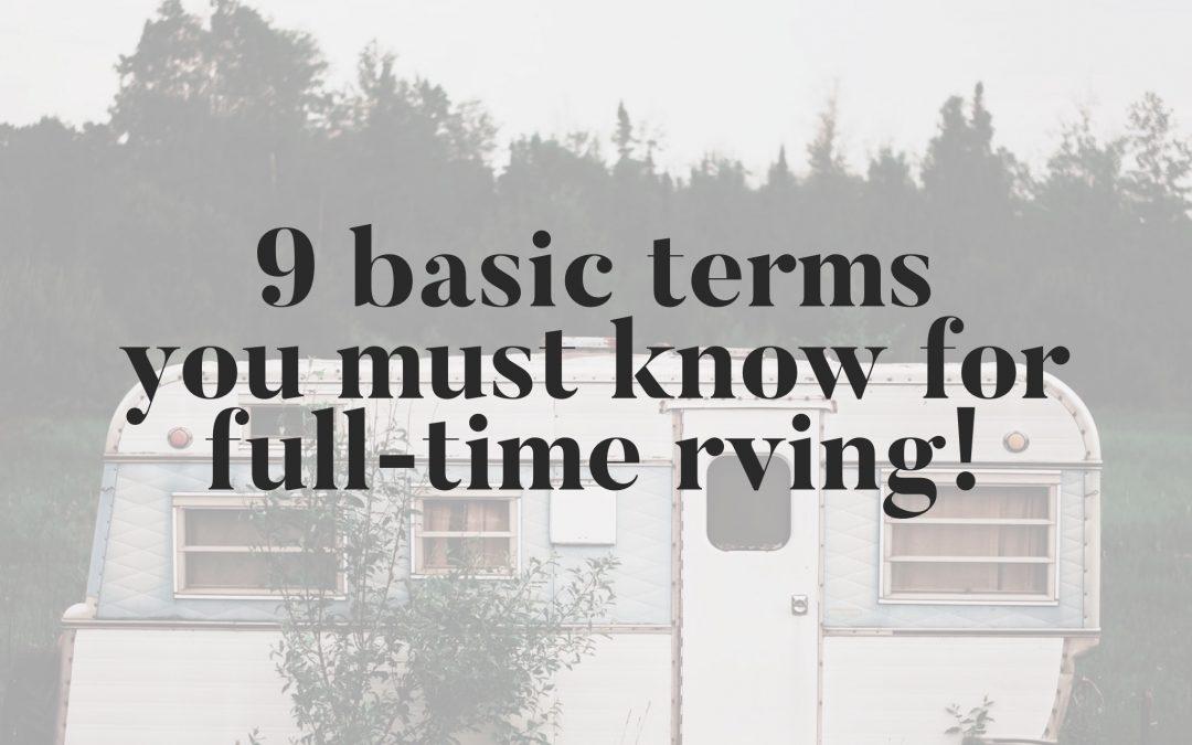 9 Basic Terms for Full Time RV Living